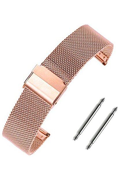 Trendburada Samsung Galaxy Watch 3 41mm Saat Uyumlu Rosegold Renk Paslanmaz Çelik Hasır Saat Kordonu