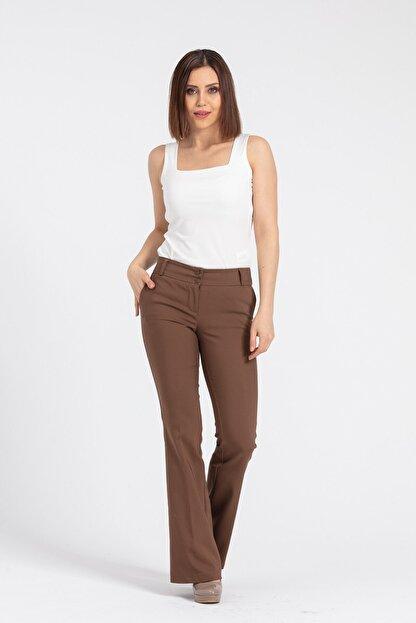 Jument Kadın Kahverengi Kalın Kemerli Cepli İspanyol Bol Paça Likralı Kumaş Pantolon