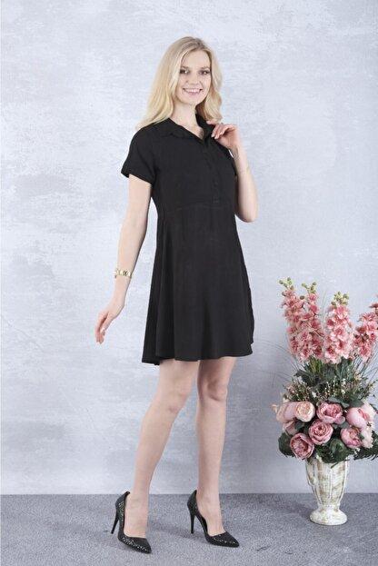 YAKAMOZ34BUTİK Kadın Siyah Önden Yarı Düğmeli Elbise
