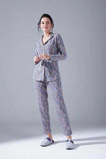 Mizalle Içi Şardonlu Penye Pijama Takımı (Çiçekli)