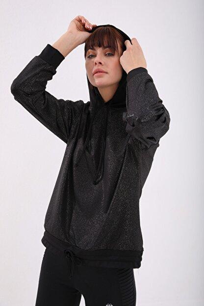 Tommy Life Siyah Gümüş Varak Kadın Kanguru Cep Büzgü Detaylı Rahat Form Kapüşonlu Sweatshirt