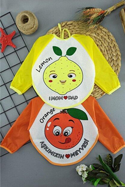 Elçi 2 Adet Limon Portakal Kollu Su Geçirmez Alezli Lüx Mama Önlüğü 6-24 Ay Arası Kullanım