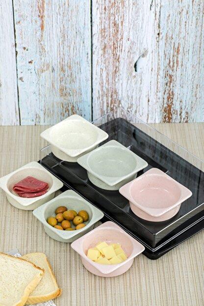 Cooker Shop Seramik 6'lı Lüx Kapaklı Renkli Kahvaltılık Seti