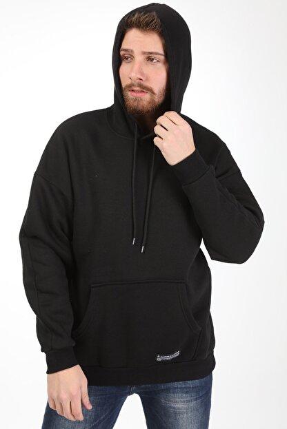 Millionaire Erkek Siyah Kapüşonlu Oversize Sweatshirt