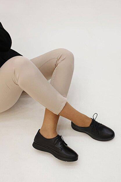 Marjin Porvez Kadın Hakiki Deri Comfort Ayakkabısiyah