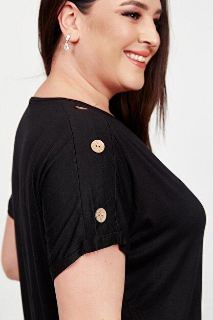 Womenice Kadın Siyah Kolu Düğme Detaylı Büyük Beden Bluz