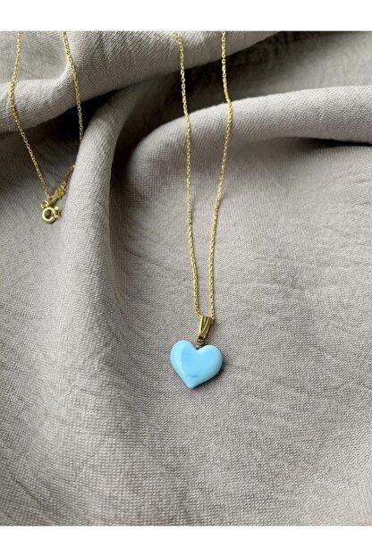 Vetro Arte Altın Kaplama 925 Ayar Gümüş El Yapımı Cam Mavi Kalp Kolye