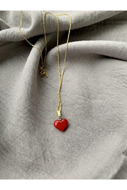 Vetro Arte Altın Kaplama 925 Ayar Gümüş El Yapımı Cam Kırmızı Kalp Kolye