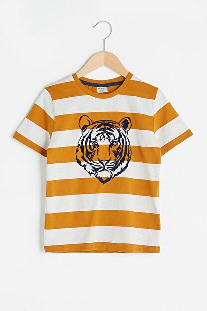 LC Waikiki Erkek Çocuk Koyu Sarı Çizgil Lka T-Shirt