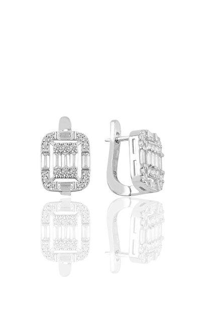 Söğütlü Silver Gümüş Rodyumlu Gümüş Baget Taşlı Klipsli Küpe