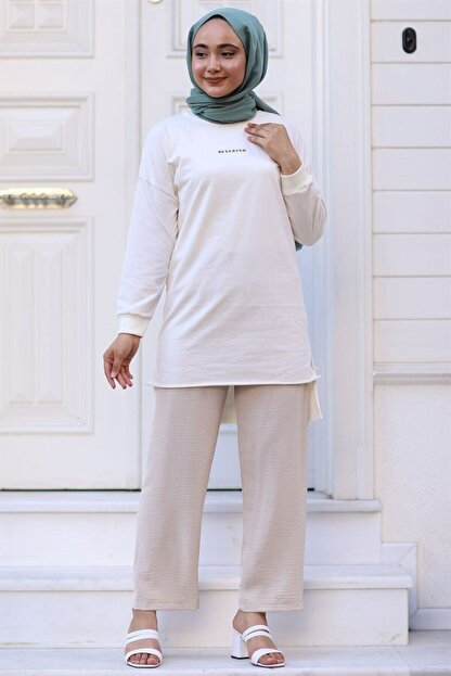 Moda Bu Huban Moda Kadın Bej Beli Lastikli Bol Paça Salaş Yazlık Pantolon Aerobin-865829 Aerobin-865829