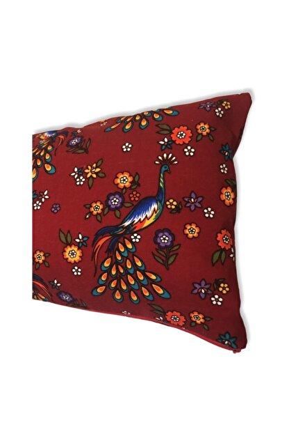 heybelioda Kırmızı Tavus Kuşu Desenli Dekoratif Kırlent Yastık Kılıfı