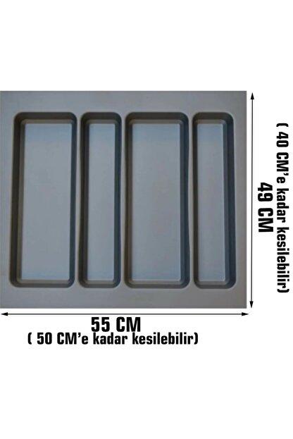 Arwino Gri Lüx 55 Cm X 49 Cm Çekmece Içi Kepçelik - 50 Cmx 40 Cm' Ye Kadar Kısalır ( Kaşıklık )