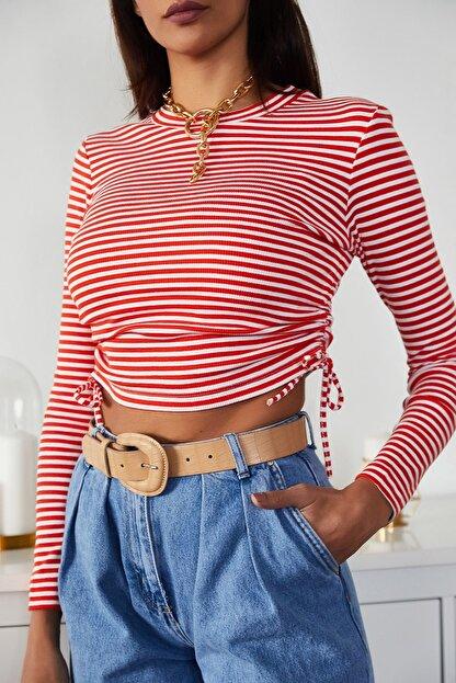 Xena Kadın Kırmızı Büzgülü Çizgili Bluz 1KZK2-11220-04