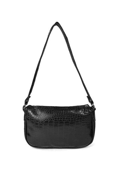 Güce Kadın Siyah Kroko Desenli Ayarlanabilir Askılı Baget Baguette El Ve Omuz Çantası Gc011700kf