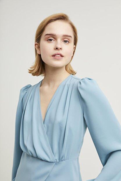 adL Kadın Mint Kruvaze Bluz