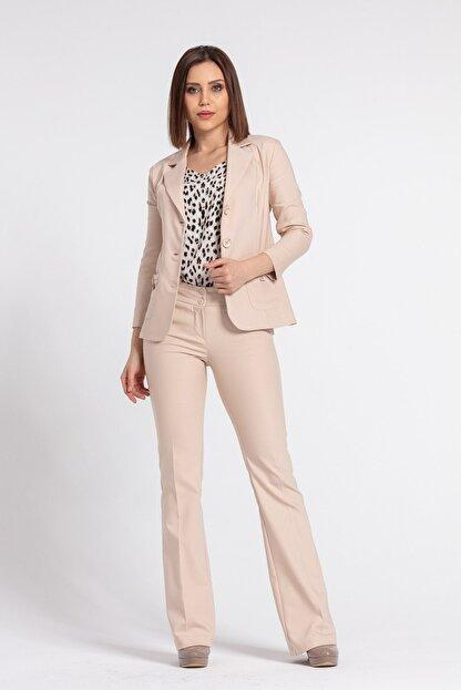 Jument Kadın Bej Yakalı Cep Detaylı Blazer Ceket