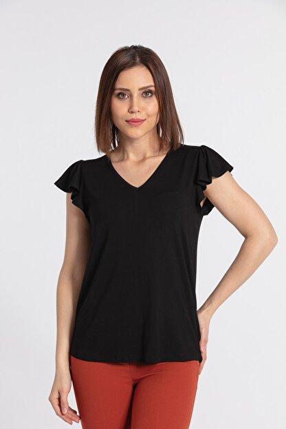 Jument Kadın V Yaka Kolları Volanlı Bluz-siyah