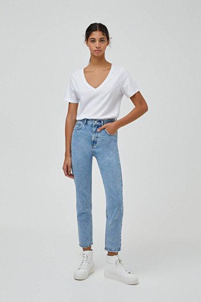 Pull & Bear Kadın Açık Mavi Mom Fit Basic Jean