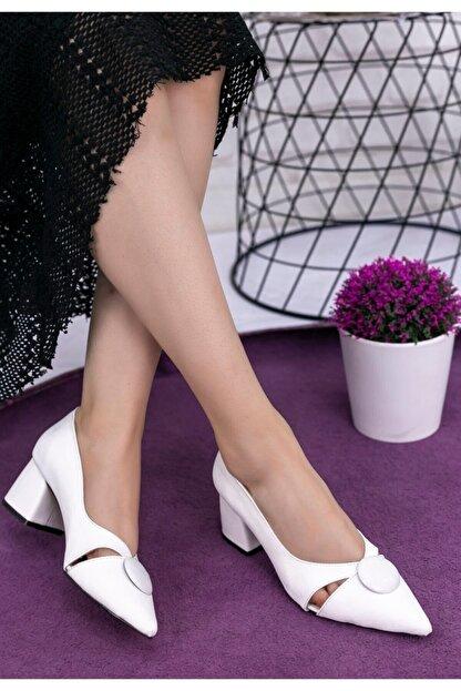 Erbilden Melvi Beyaz Cilt Topuklu Ayakkabı