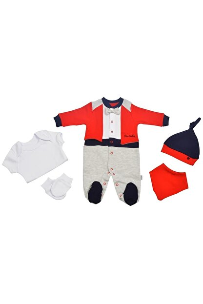 Pierre Cardin Pierre Cardin Papyonlu  Yenidoğan Bebek Hastane Çıkışı Seti Kırmızı