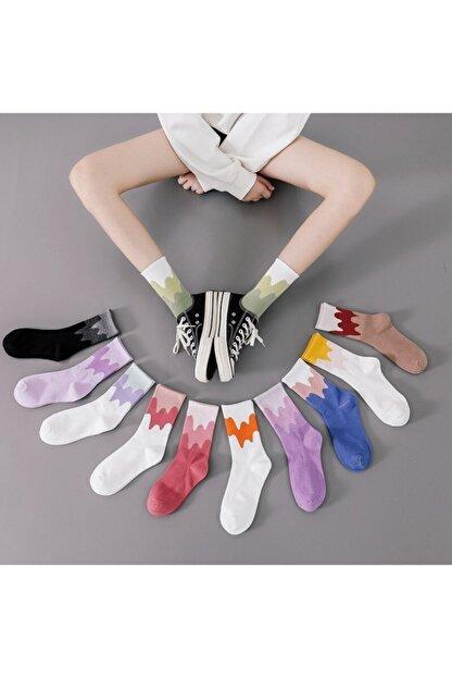 çorapmanya Çok Renkli Zikzak Çizgili Pamuklu Kolej Tenis Çorap 12'li