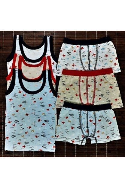 ADN Underwear 3 Adet Erkek Çocuk Ikili Takım Atlet Boxer Şort Külot Pamuklu Karışık Renkli Balık Desenli