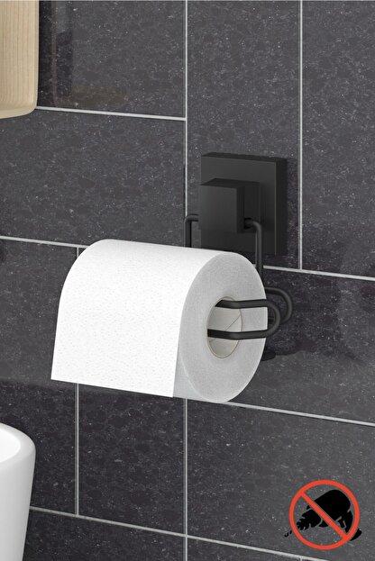 Teknotel Delme Vida Matkap Yok! Easyfıx Yapışkanlı Tuvalet Kağıtlık Mat Siyah Ef271