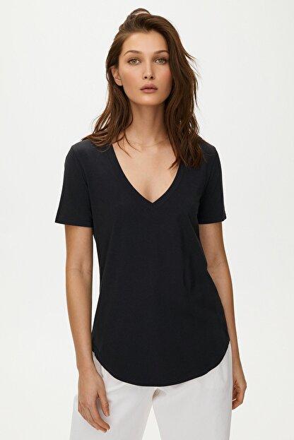 Soufeel Kadın Siyah V Yaka Oversize Classic Bluz Yuvarlak Detay Kısa Kol Tişört
