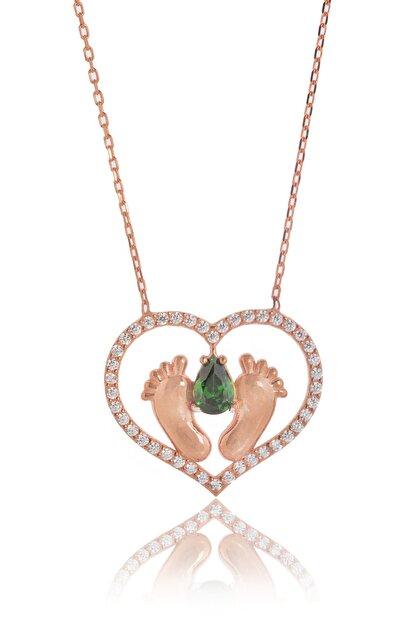 By Barun Silver Kadın Rose 925 Ayar Gümüş  Zümrütlü Ayak İzi Kolye