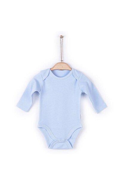 KitiKate Unisex Bebek Mavi Organik Uzun Kol Amerikan Yaka Body 57195