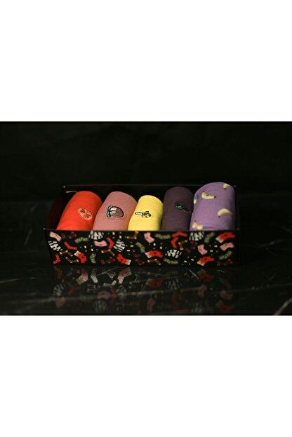 Adel Renkli Meyve Emojili Çorap Takımı 5 Çift