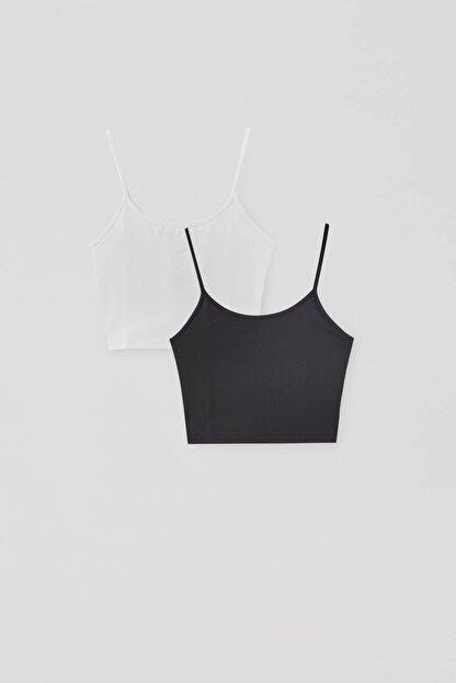 Pull & Bear Kadın Beyaz/Siyah Askılı Crop Top Paketi 04240411