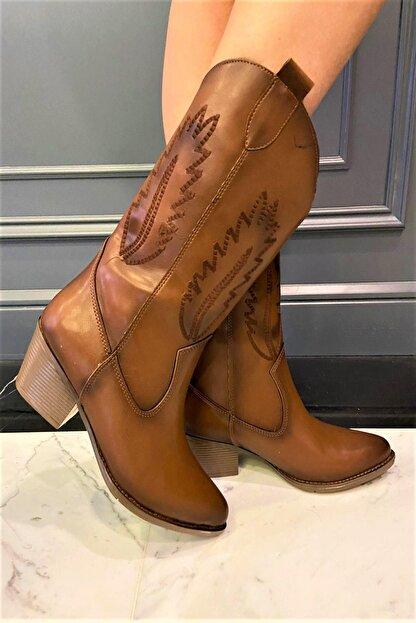 OKATLAR AYAKKABI Kadın Kahverengi Kovboy Çizme
