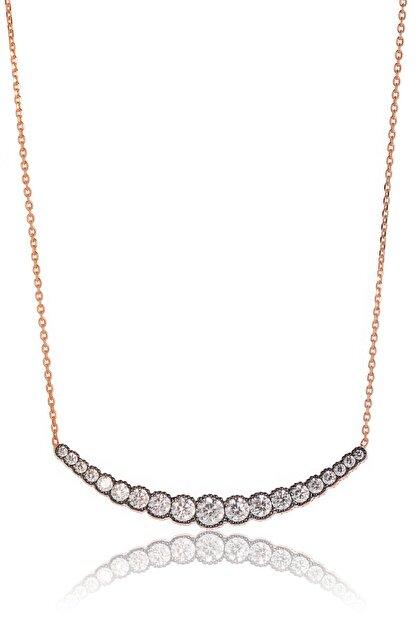 By Barun Silver Kadın Pembe Altın 925 Ayar Gümüş  Süzme Taşlı Kolye