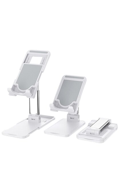 Premium Ticaret Portatif Ayarlanabilir Katlanır Telefon Ve Tablet Masaüstü Standı Tutucu Beyaz