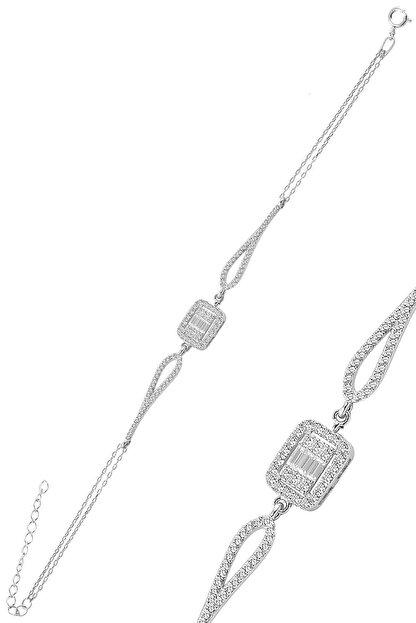 Söğütlü Silver Gümüş Rodyumlu Zirkon Baget Taşlı Bileklik.