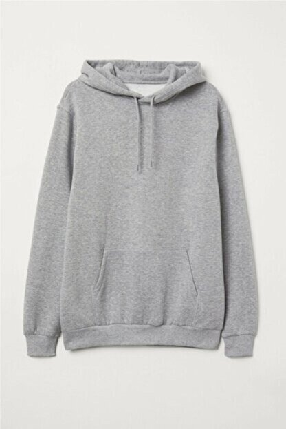 Unero Unisex Gri Kapüşonlu Kangru Cep Oversize Sweatshirt