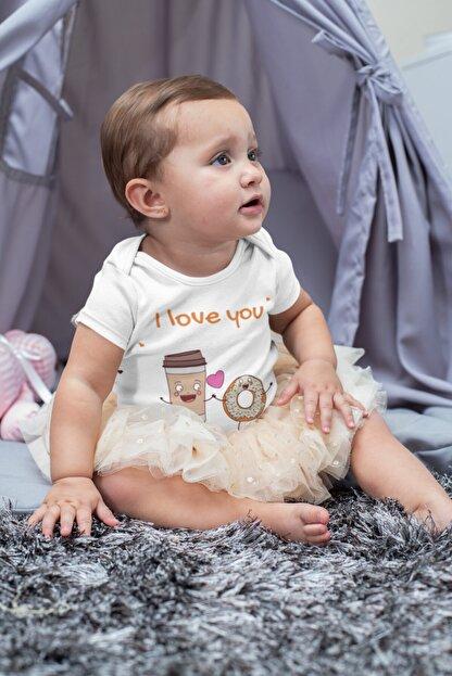 Babydonat Kız Bebek Beyaz I Love You Donat Desenli Kısa Kol Body