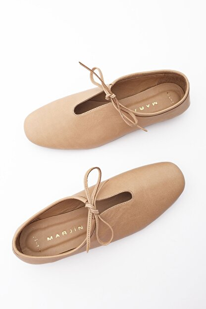 Marjin Kadın Bej Hakiki Deri Günlük Ayakkabı Burlas