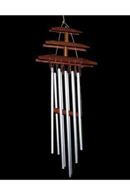 Hormiga Ahşap Bambu Çatı Tasarımlı Metal Çubuklu Rüzgar Gülü Balkan Bahçe Kapı Çanı Süsü