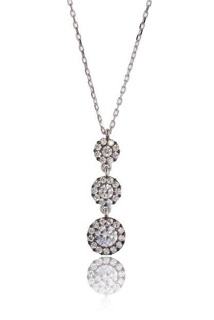 By Barun Silver 3'lü Beyaz Safirli Tria Kolye - Gümüş Rengi