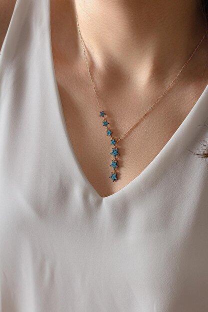 By Barun Silver Kadın Mavi Taşlı Sıralı Yıldız Gümüş Kolye