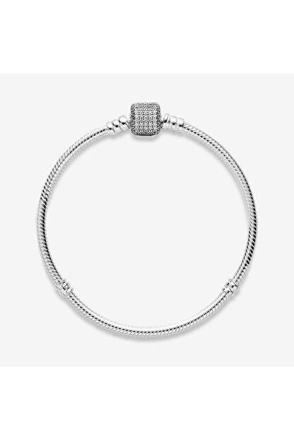 My Story Pandora Uyumlu Taşlı Silindir Kilit Gümüş Bileklik