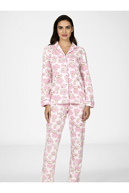 Nbb Kadın Pembe Kedili Önden Düğmeli Pijama Takımı 67017