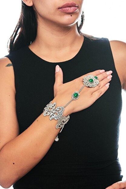 ZeyDor Accessories Kadın Yeşil Gri Osmanlı Tasarım Taşlı Şahmeran