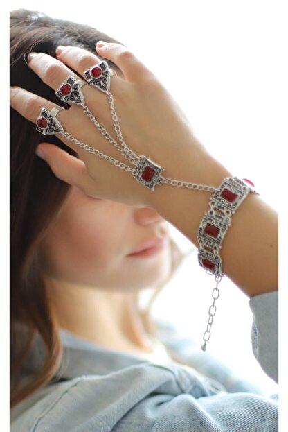 ZeyDor Accessories Kadın Gri Taşlı Osmanlı Şahmeran