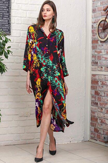 Chiccy Kadın Siyah Fırça Desen Yırtmaçlı Salaş Dokuma Gömlek Elbise M10160000EL95921