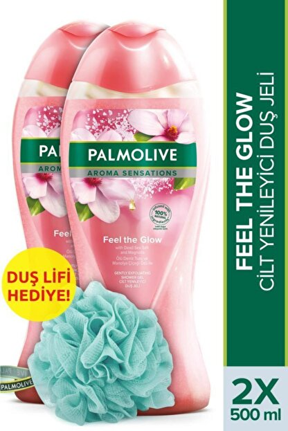 Palmolive Aroma Sensations Feel Glow  Banyo ve Duş Jeli 500 ml x 2 Adet + Duş Lifi Hediye