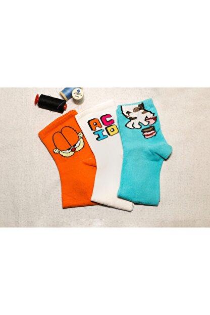 Adel Uniswx Renkli 3'lü Figür Desenli Çorap
